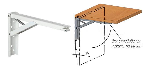 Откидной стол с креплением к стене на балкон